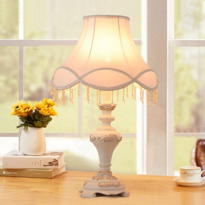 Flared Fabric Nightstand Light Korean Garden 1 Head Lounge Table Lamp with Scallop Edge in White