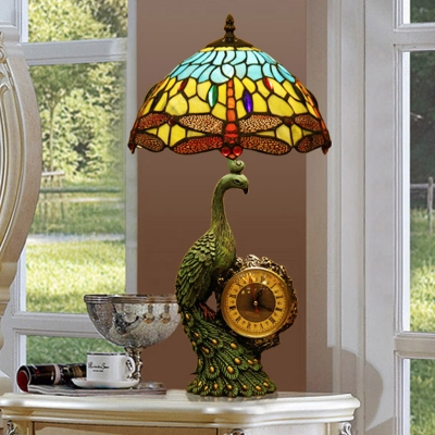 Resin Peacock Table Lamp Tiffany Single Light Blue-Yellow Nightstand Light with Clock and Dragonfly Stained Glass Shade