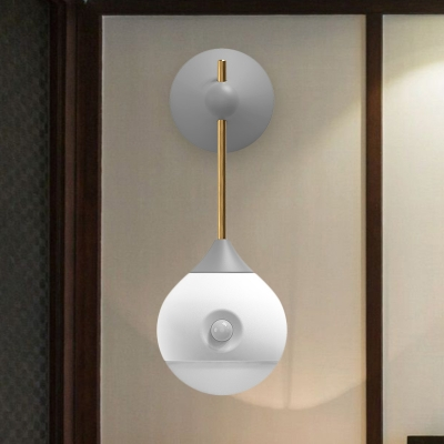 Swivelable Droplet Plastic Wall Light Modern Creative Grey/Wood and White USB LED Night Stand Lamp