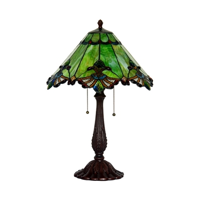 Tiffany Conic Nightstand Lamp 2 Lights Green Glass Table Lighting in Bronze with Pull Chain