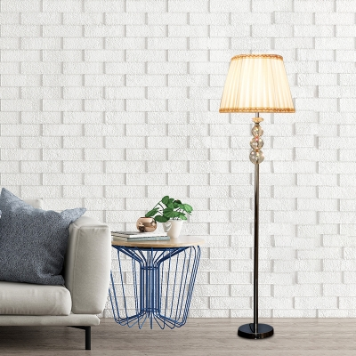 Yellow Pleated Shade Floor Lamp Modern Fabric 1 Head Living Room Standing Light with Crystal Ball