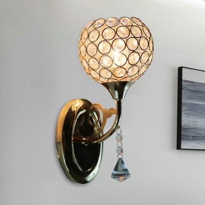 1 Head Crystal Embedded Wall Light Kit Modern Gold Hemisphere Bedroom Sconce Lamp