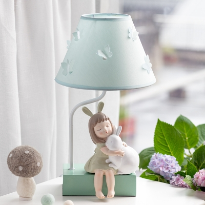 Blue 1 Head Table Light Korean Garden Fabric Conical Night Stand Lamp with Girl and Rabbit Decor