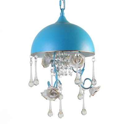 Blue Bowl Hanging Lamp Nordic Metal 3-Bulb Dining Room Chandelier with Hand-Worked Rose and Crystal Drop