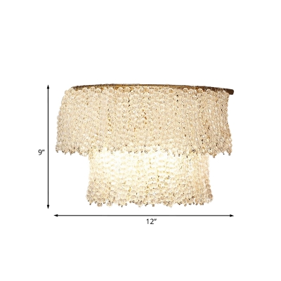 Crystal Beaded Layer Flush Wall Sconce Modernist 2-Light Bedroom Wall Mount Lighting Fixture in Gold