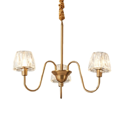 Crystal Cone Ceiling Chandelier Postmodern 3/6-Bulb Living Room Hanging Light with Gold Undulated Arm