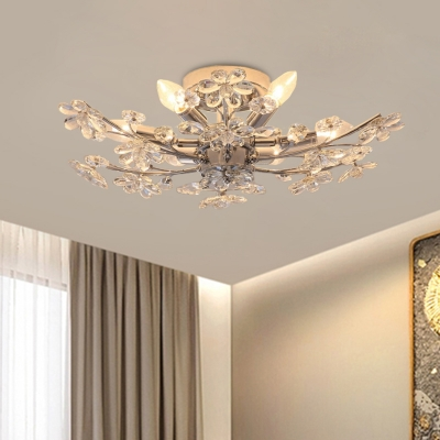 Flower Branch Living Room Flush Mount Modern Crystal 6 Heads Chrome Finish Semi Flush Ceiling Light