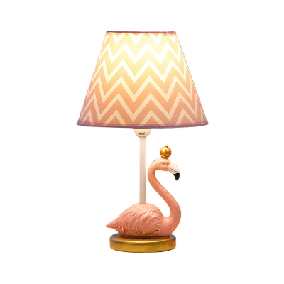 Handmade Flamingo Night Light Kids Resin 1 Light Pink Table Lamp with Conical Chevron Lampshade, 7.5