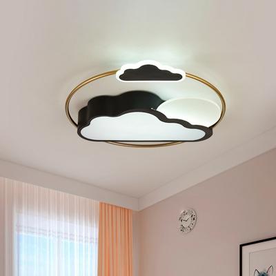 LED Bedroom Flushmount Light Cartoon Black/Blue Finish Flush Mount with Cloud Acrylic Shade