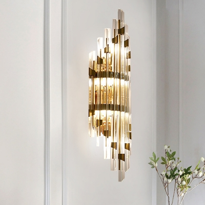Modern Flute Flush Mount Wall Sconce 3 Lights Strip Crystal Wall Mounted Lighting in Gold