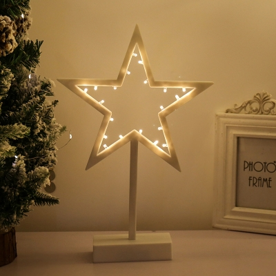 Nordic Style LED Night Stand Light White Star/Loving Heart/Christmas Tree Battery Table Lighting with Plastic Frame
