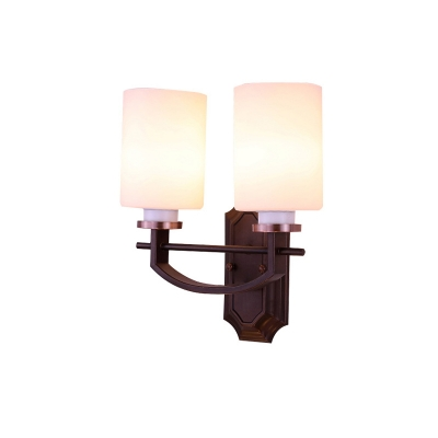 Opal Glass Black Wall Mount Light Fixture Cylinder Shade 1/2-Light Traditional Style Sconce