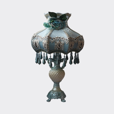 Peacock Blue 1 Head Nightstand Light European Flower Fabric Scalloped Table Lamp with Dangling Droplet