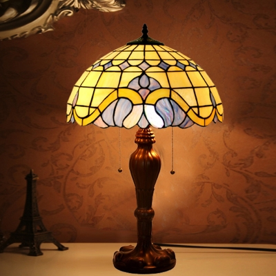 Stained Glass Coffee Night Table Light Lattice Bowl 2 Bulbs Tiffany Nightstand Lamp with Pull Chain