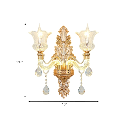 Antique Style Flower Wall Lighting 2 Heads Clear Glass Sconce with Carved Backplate in Gold