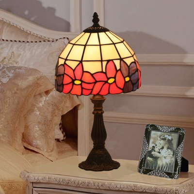 Bowl Shade Night Table Light Tiffany Style Cut Glass 1 Light Red/Yellow Petal Patterned Nightstand Lamp for Bedside