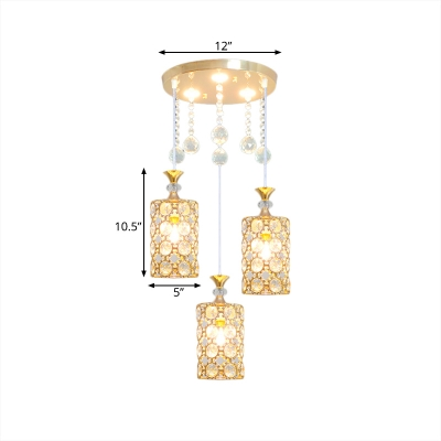 Cylinder Drop Lamp Contemporary Faceted Crystal 3 Lights Gold Finish Multi-Light Pendant