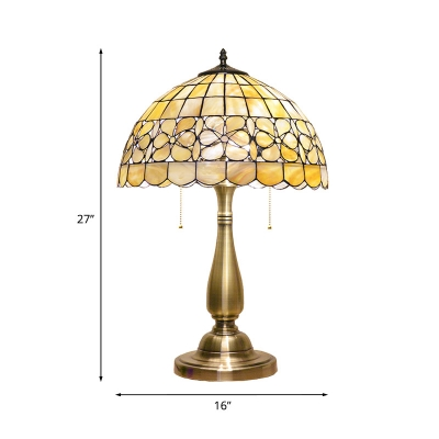 Gold Bowl Shade Night Table Lamp Tiffany 2 Lights Shell Petal Patterned Nightstand Lighting with Pull Chain