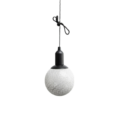 Grey/White Ball Shaped LED Night Light Minimalistic Plastic Battery Operated Pendant Lamp