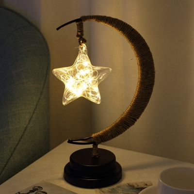 Hemp Rope Crescent LED Table Lamp Nordic Black USB/Battery Nightstand Light with Dangling Globe/Star Shade
