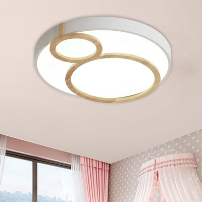 Macaron Circle Ceiling Mounted Fixture Acrylic LED Bedroom Flush Lighting in White/Green/Grey and Wood