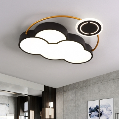 Nordic Style LED Flush Lamp with Acrylic Shade Black Finish Cloud/Sun/Moon Shaped Flush Mount Light