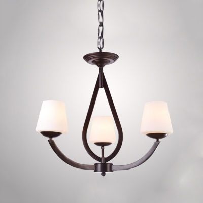 Opal Glass Black Chandelier Light Fixture Conic 3/6/8 Heads Traditional Pendant Lamp with Swooping Arm