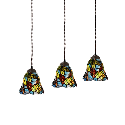 3 Heads Bell Multiple Hanging Light Baroque Pink Peony/Blue Floral/Green Grapes Stained Glass Ceiling Pendant