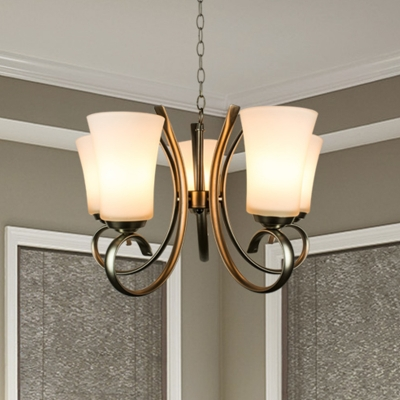 5 Heads Chandelier Lighting Fixture Rural Dining Room Ceiling Light with Conical Opal Glass Shade in Brass