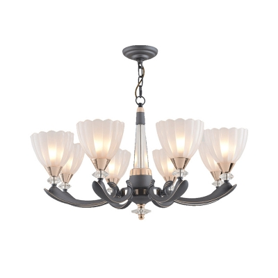 6/8 Heads Bowl Ceiling Chandelier Traditional White Ribbed Glass Pendant Lighting Fixture with Curved Arm
