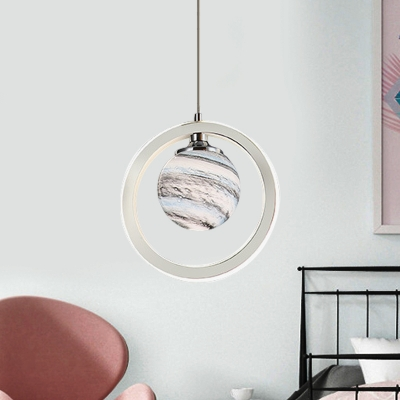 Ball Moon Glass Pendulum Light Minimalist LED Chrome Ceiling Suspension Lamp with Ring