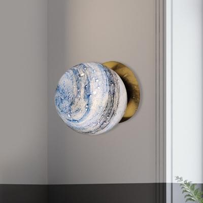 Brass Ball Wall Light Sconce Modernism 1-Bulb Blue/Yellow Interstellar Glass Wall Mounted Lamp