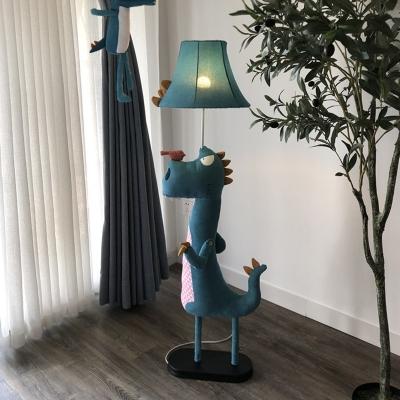 Dinosaur Standing Floor Light Cartoon Fabric 1 Bulb Living Room Floor Lamp in Blue with Bell Shade