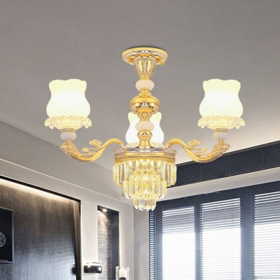Gold 3/6-Light Ceiling Mount Chandelier Modern Crystal Tiers Semi Flush Mount with Scalloped Opal Glass Shade