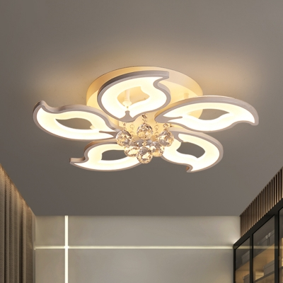 Baycheer / LED Crystal Ball Ceiling Flush Modernist White Blossom Bedroom Flush Mount Light Fixture