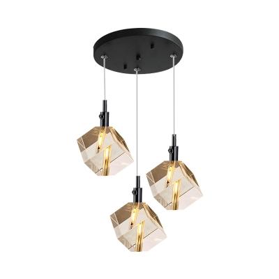Modern Square Pendant Lamp K9 Crystal 3-Bulb Dining Room Multi Ceiling Light in Black