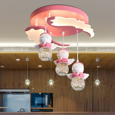 Pink Wing LED Ceiling Lamp Kids 3/4-Head Acrylic Semi Flush Mount Lighting with Dangling Angel