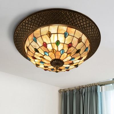 Shell Bronze Flush Mount Fixture Peony/Jewel/Flower LED Tiffany Style Ceiling Light with Crisscrossed Edge