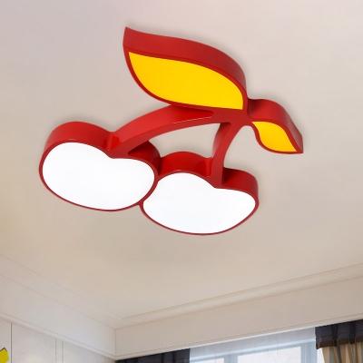 White Fruits Flush Mount Lighting Kids LED Acrylic Ceiling Mounted Light for Kindergarten