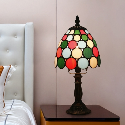 1-Bulb Dotted/Beaded Nightstand Lighting Mediterranean Bronze Finish Beige/Red-Green-Pink Cut Glass Night Lamp