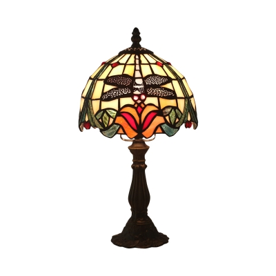 Dome Shade Cut Glass Night Table Lamp Mediterranean 1-Light Red/Orange Dragonfly and Petal Patterned Desk Lighting