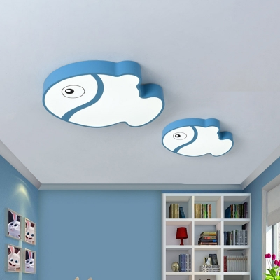 Fish Flush Ceiling Light Fixture Kids Acrylic LED Bedroom Ceiling Flush Mount in White/Blue