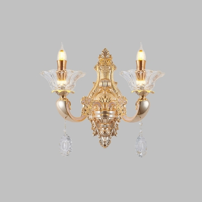 Gold Candle Wall Mount Lamp Traditional Metal 1/2-Bulb Lobby Sconce with Flower Clear Glass Lamp Holder
