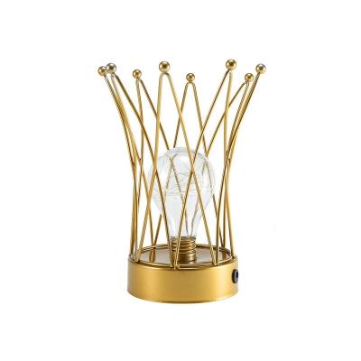 Gold Crown Mini LED Night Light Kid Metal USB Table Lamp with Bulb Glass Shade Inside