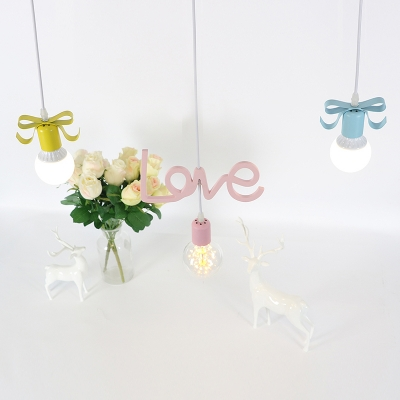 Love-Shape Multi Light Pendant with Bare Bulb Design Kids Resin 3 Heads Red-Yellow-Blue Hanging Lamp