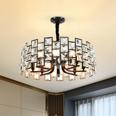 Square Beveled Crystal Black Pendant Drum Shaped 8 Lights Contemporary Chandelier for Bedroom