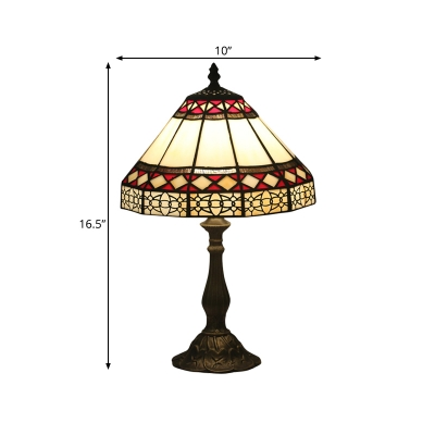 1-Bulb Bedroom Night Lamp Mission Style Beige Nightstand Light with Conical Cut Glass Shade