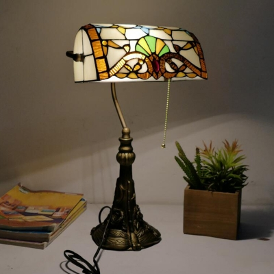 Beautifulhalo coupon: 1 Bulb Bedside Desk Lighting Victorian Bronze Pull Chain Night Lamp with Rollover Stained Glass Shade