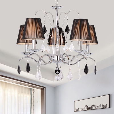 5-Light Conic Chandelier Modern Black Gathered Fabric Pendant Light Fixture with Chrome Swirl Arm