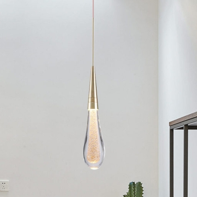 Brass 1 Bulb LED Pendant Lighting Minimalism Crystal Droplet Hanging Light Fixture